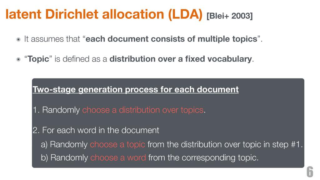 latent Dirichlet allocation (LDA) [Blei+ 2003] ...