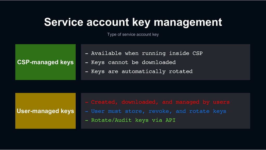 Service account key management Type of service ...