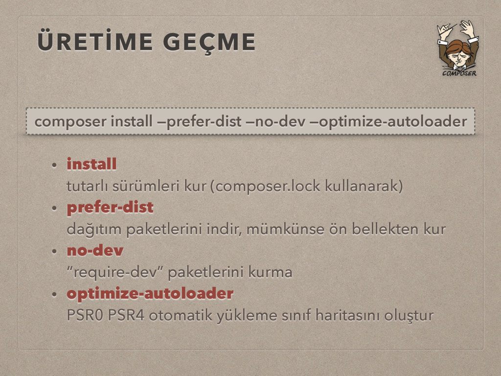 ÜRETİME GEÇME composer install —prefer-dist —no...