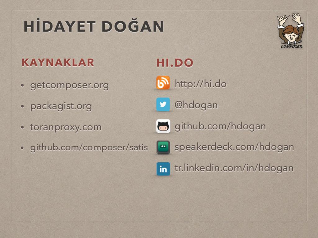 KAYNAKLAR • getcomposer.org • packagist.org • t...