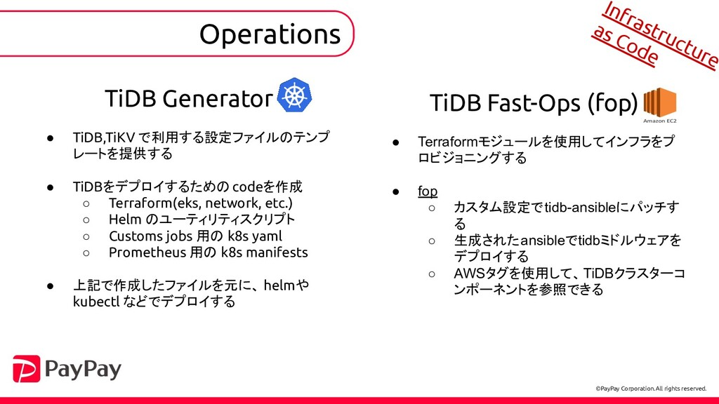 Operations TiDB Generator ● TiDB,TiKV で利用する設定ファ...