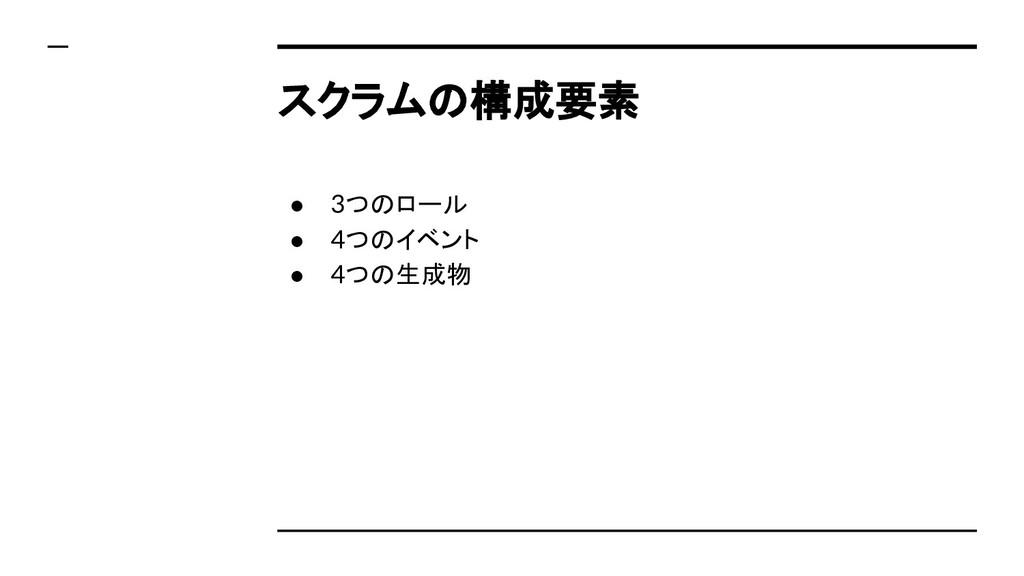 スクラムの構成要素 ● 3つのロール ● 4つのイベント ● 4つの生成物