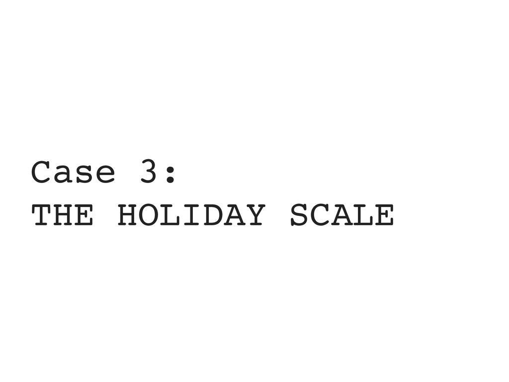 Case 3: THE HOLIDAY SCALE
