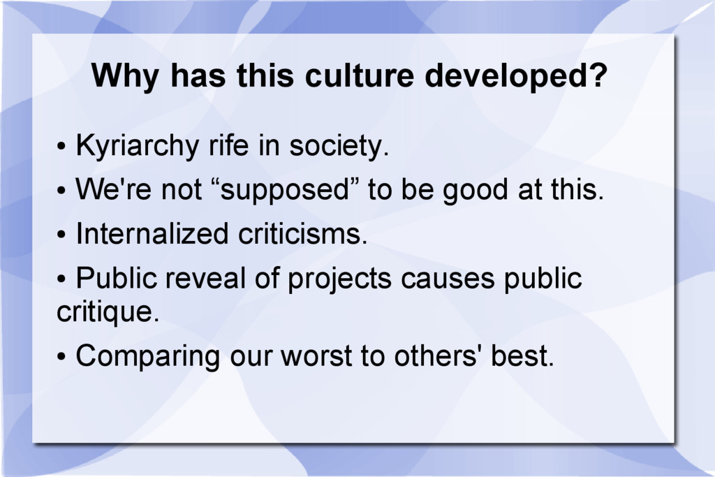 Why has this culture developed? ● Kyriarchy rif...