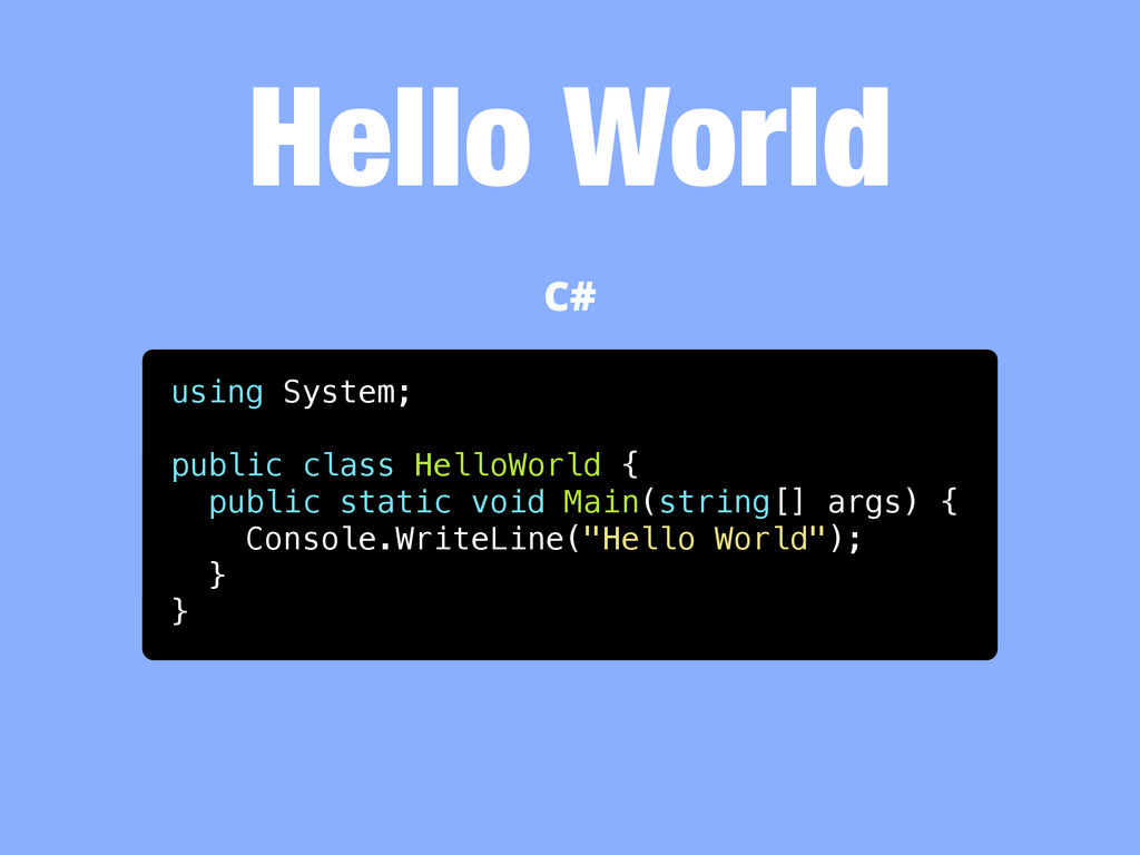 Hello World using System; public class HelloWor...