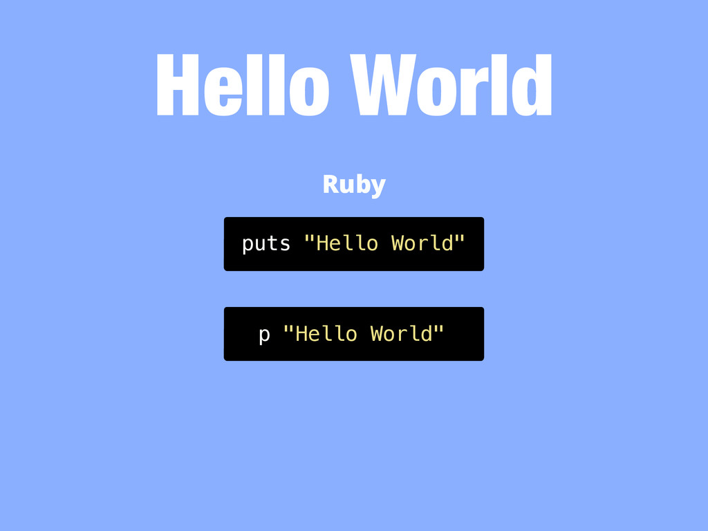 "Hello World puts ""Hello World"" Ruby p ""Hello Wo..."