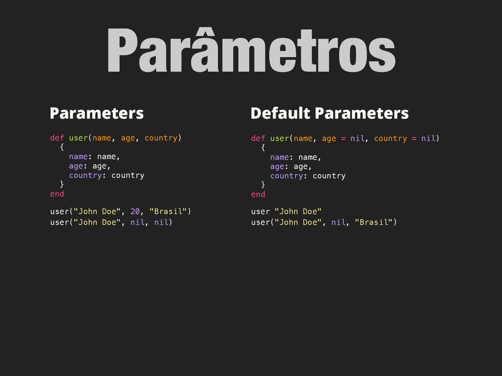 Parâmetros Default Parameters def user(name, ag...