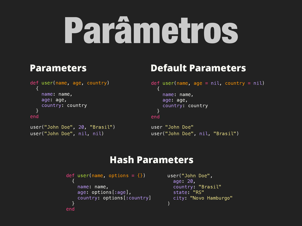 Parâmetros Hash Parameters def user(name, optio...