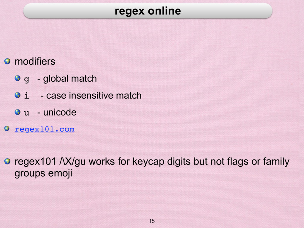 15 regex online  modifiers  g - global match  i...