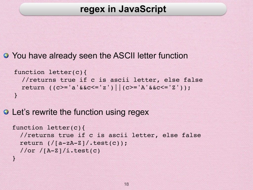 18 regex in JavaScript  You have already seen t...
