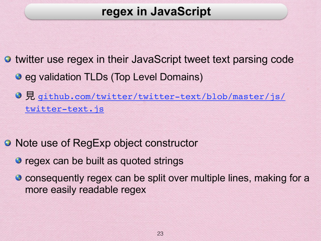 23 regex in JavaScript  twitter use regex in th...