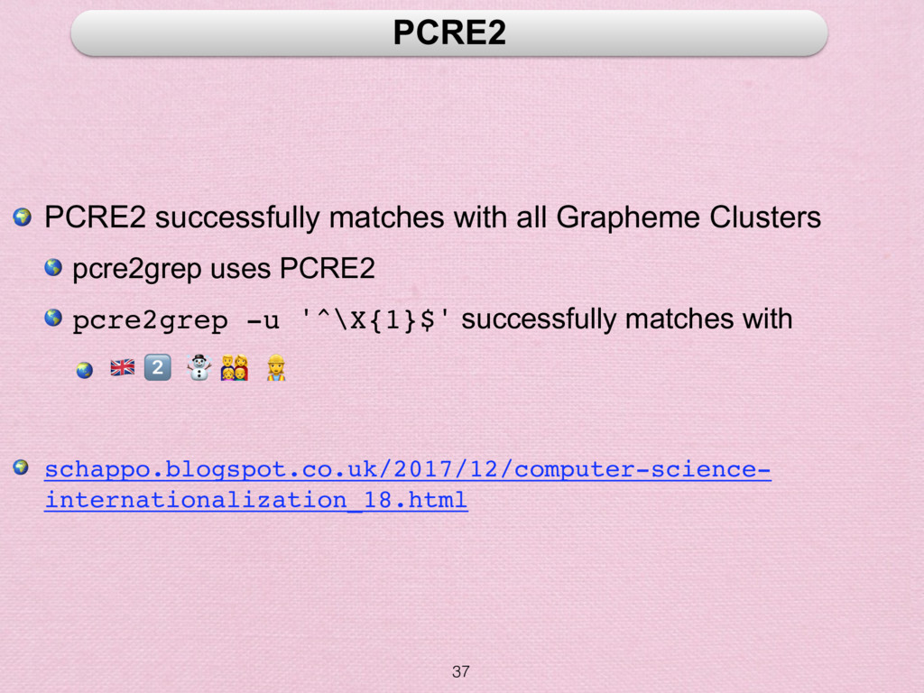 37 PCRE2  PCRE2 successfully matches with all G...
