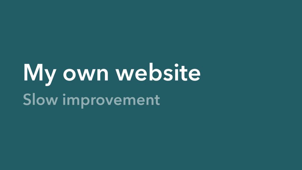 My own website Slow improvement