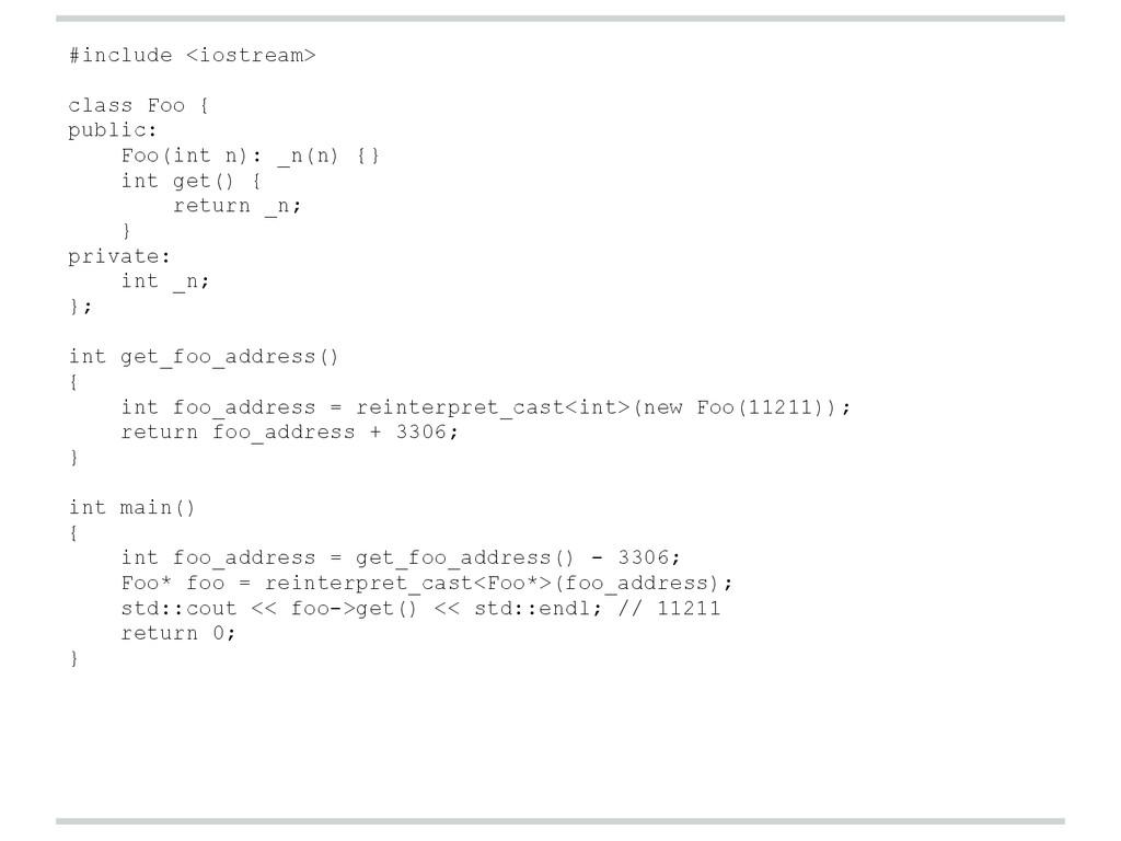 #include <iostream> class Foo { public: Foo(int...