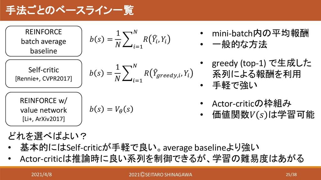 25/38 手法ごとのベースライン一覧 REINFORCE batch average bas...
