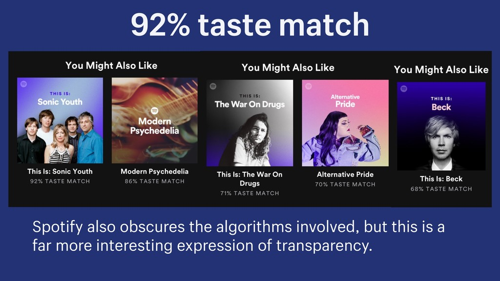 92% taste match Spotify also obscures the algor...
