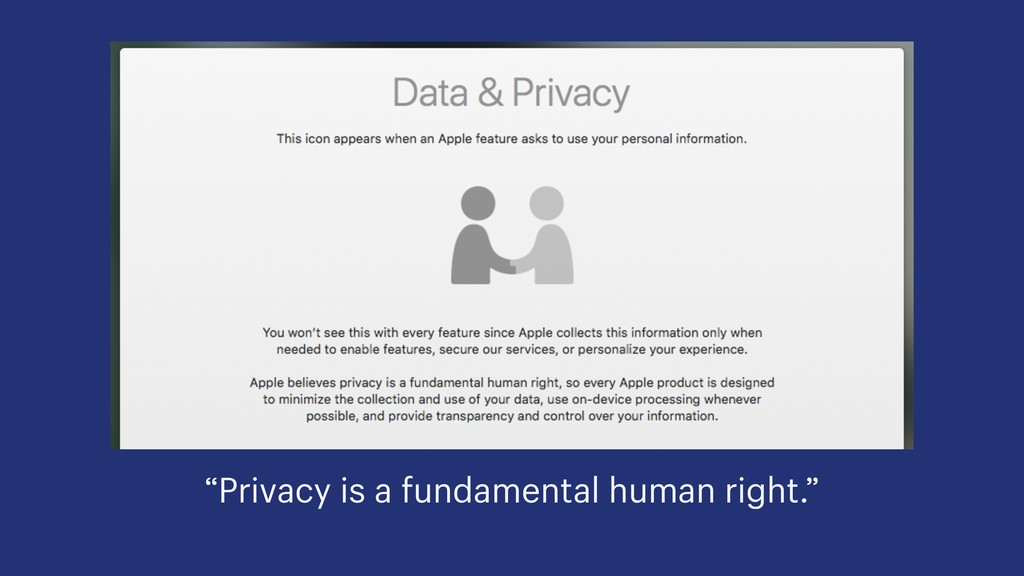 """Privacy is a fundamental human right."""