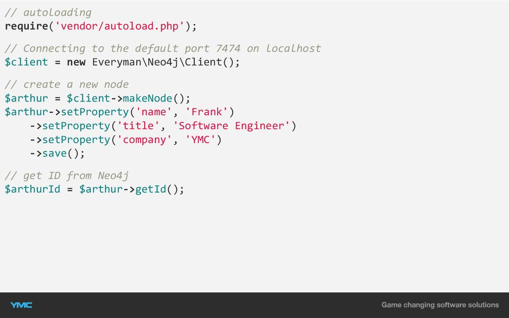// autoloading require('vendor/autoload.php'); ...