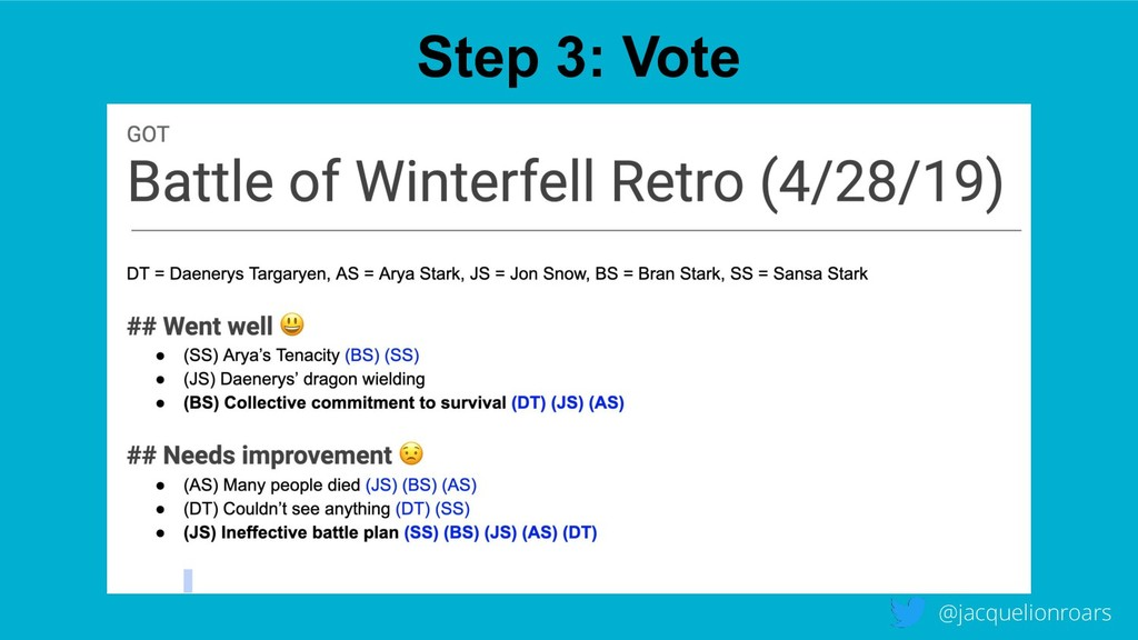Step 3: Vote @jacquelionroars
