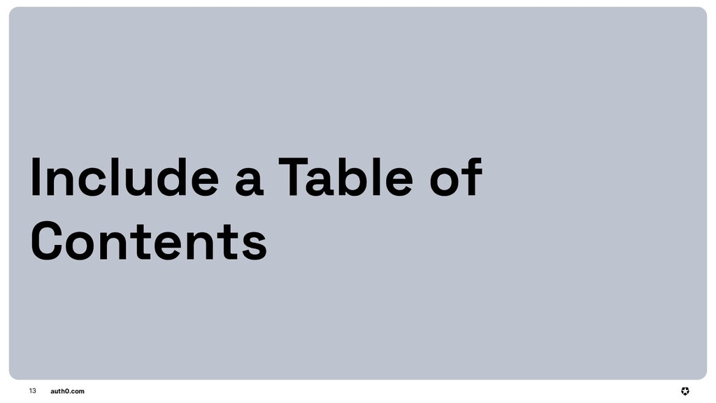 auth0.com 13 Include a Table of Contents
