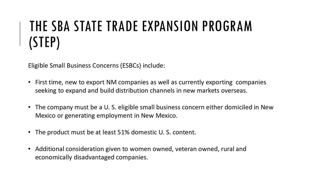 THE SBA STATE TRADE EXPANSION PROGRAM (STEP) El...
