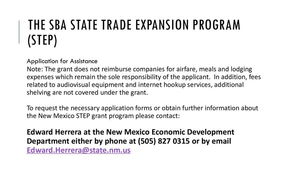 THE SBA STATE TRADE EXPANSION PROGRAM (STEP) Ap...