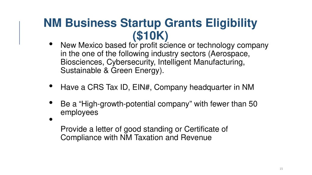15 NM Business Startup Grants Eligibility ($10K...