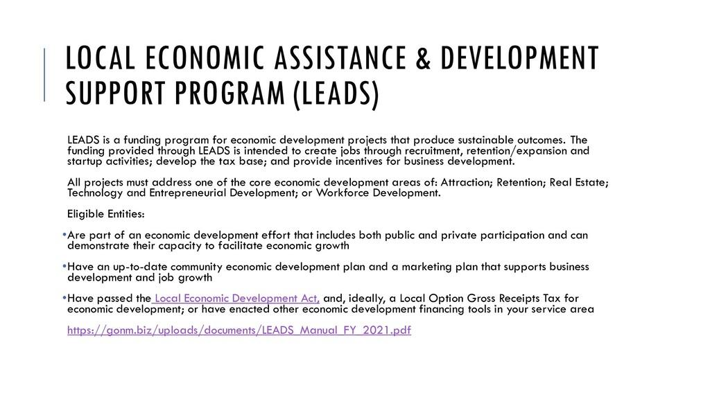 LOCAL ECONOMIC ASSISTANCE & DEVELOPMENT SUPPORT...