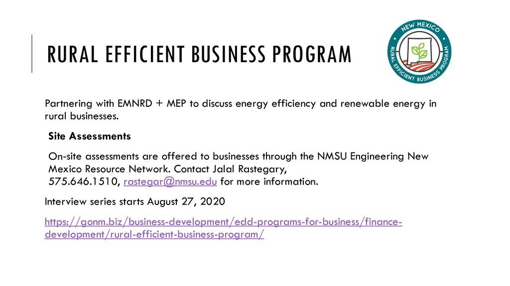 RURAL EFFICIENT BUSINESS PROGRAM Partnering wit...