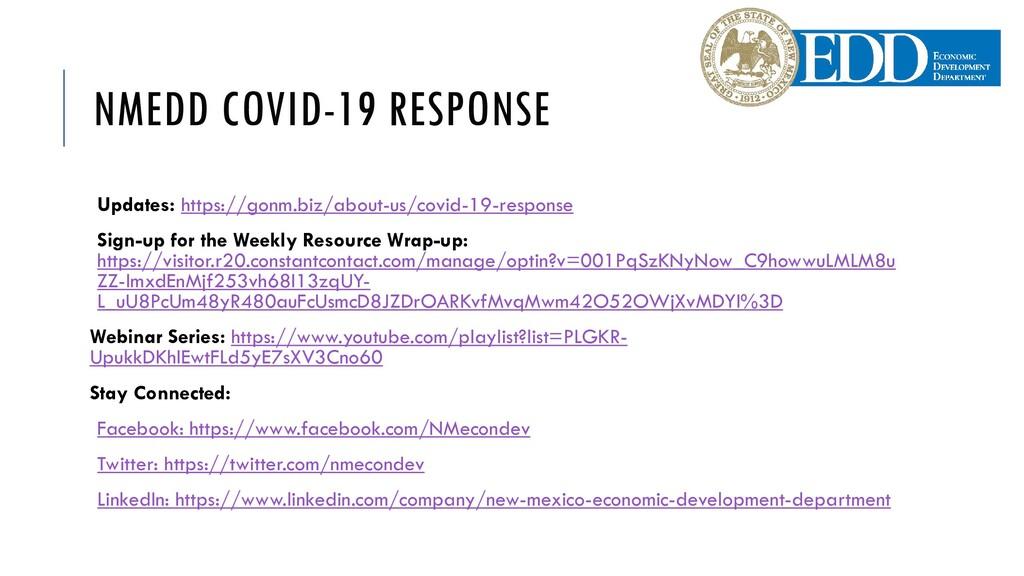 NMEDD COVID-19 RESPONSE Updates: https://gonm.b...