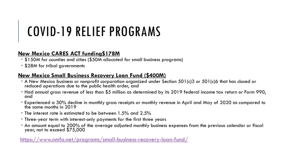 COVID-19 RELIEF PROGRAMS New Mexico CARES ACT f...