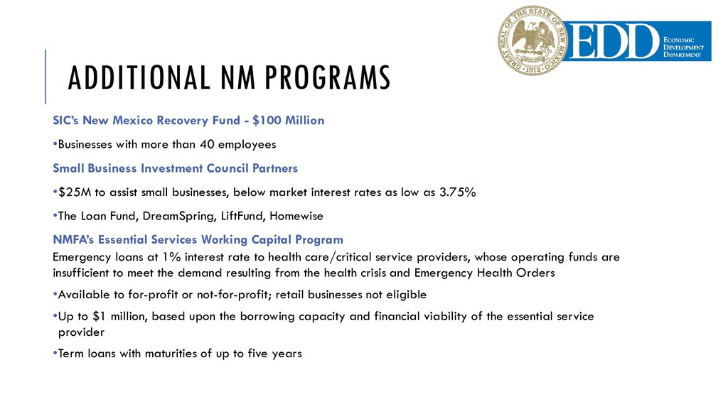 ADDITIONAL NM PROGRAMS SIC's New Mexico Recover...