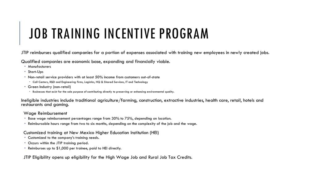 JOB TRAINING INCENTIVE PROGRAM JTIP reimburses ...