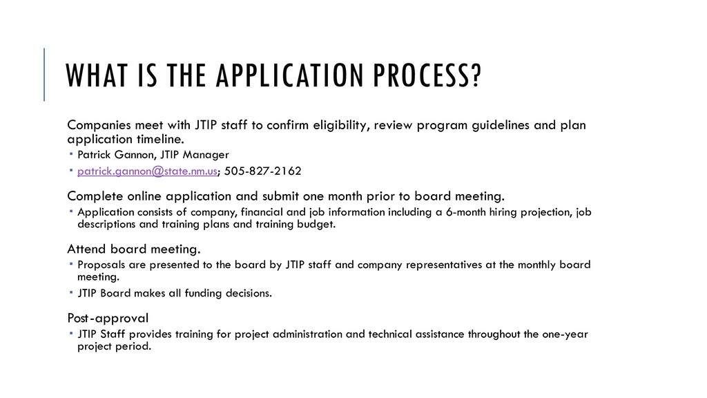 WHAT IS THE APPLICATION PROCESS? Companies meet...