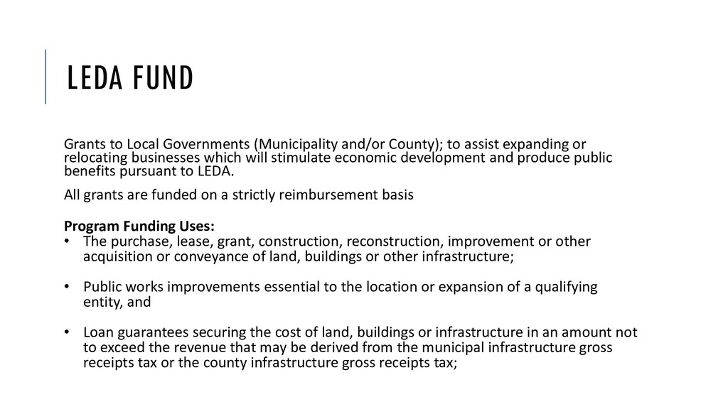 LEDA FUND Grants to Local Governments (Municipa...