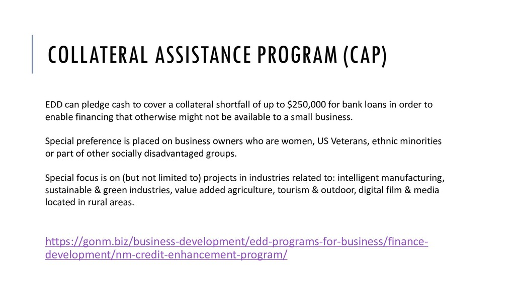 COLLATERAL ASSISTANCE PROGRAM (CAP) EDD can ple...