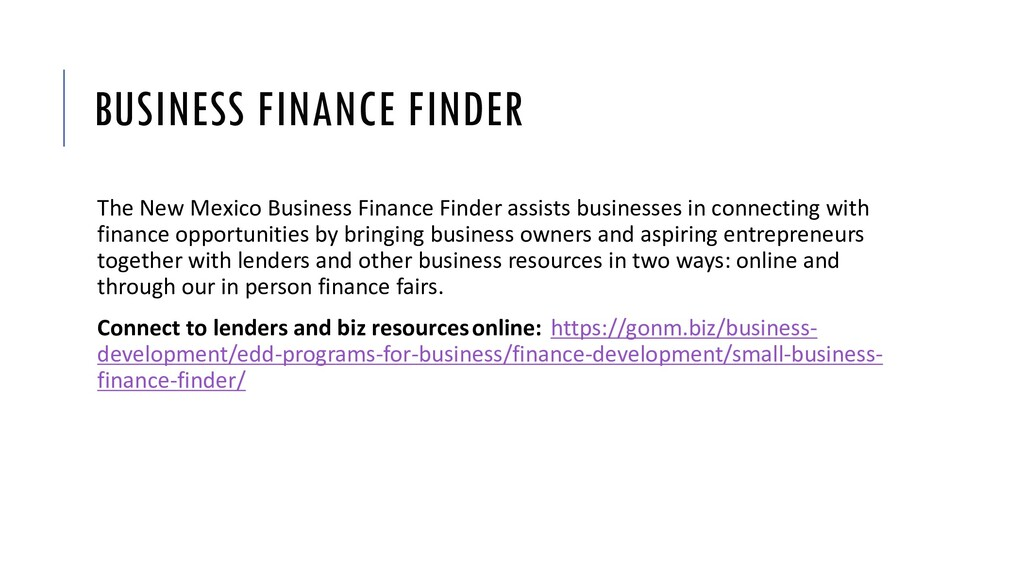 BUSINESS FINANCE FINDER The New Mexico Business...