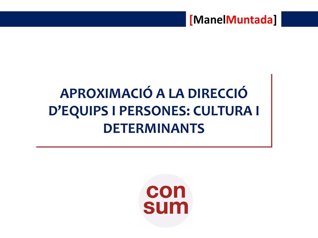 APROXIMACIÓ A LA DIRECCIÓ D'EQUIPS I PERSONES: ...