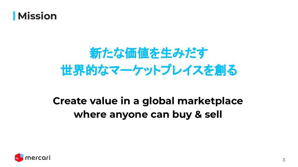 3 Confidential - Do Not Share 新たな価値を生みだす 世界的なマーケ...