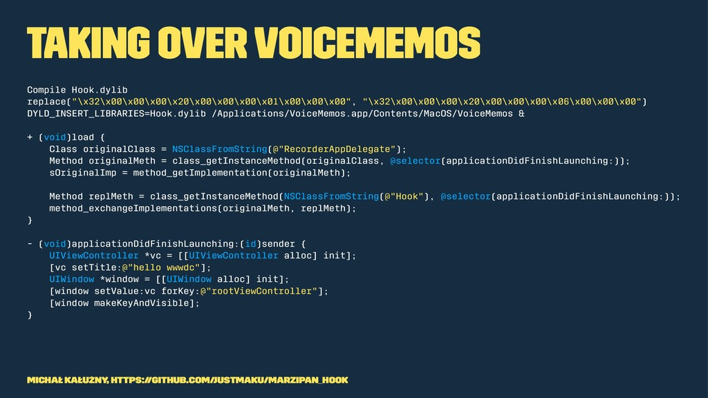 Taking over VoiceMemos Compile Hook.dylib repla...