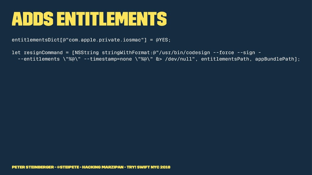 "Adds Entitlements entitlementsDict[@""com.apple...."