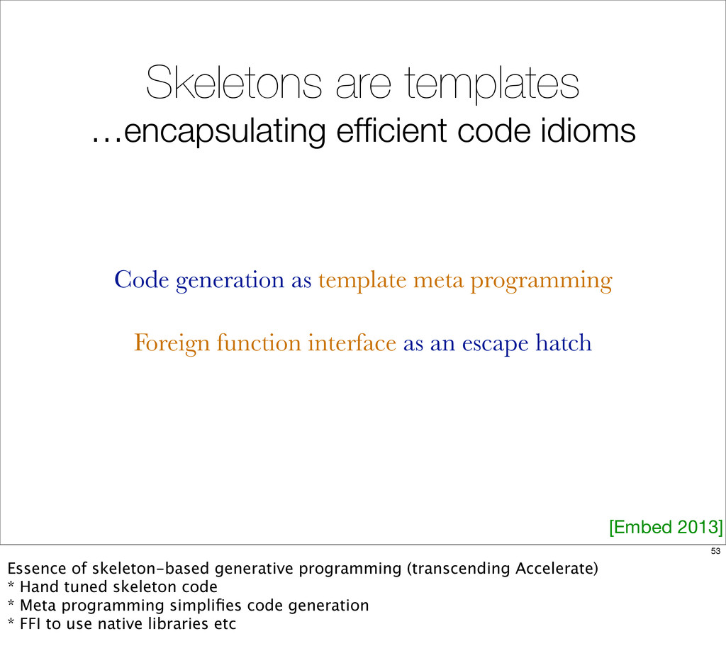 Skeletons are templates …encapsulating efficient...