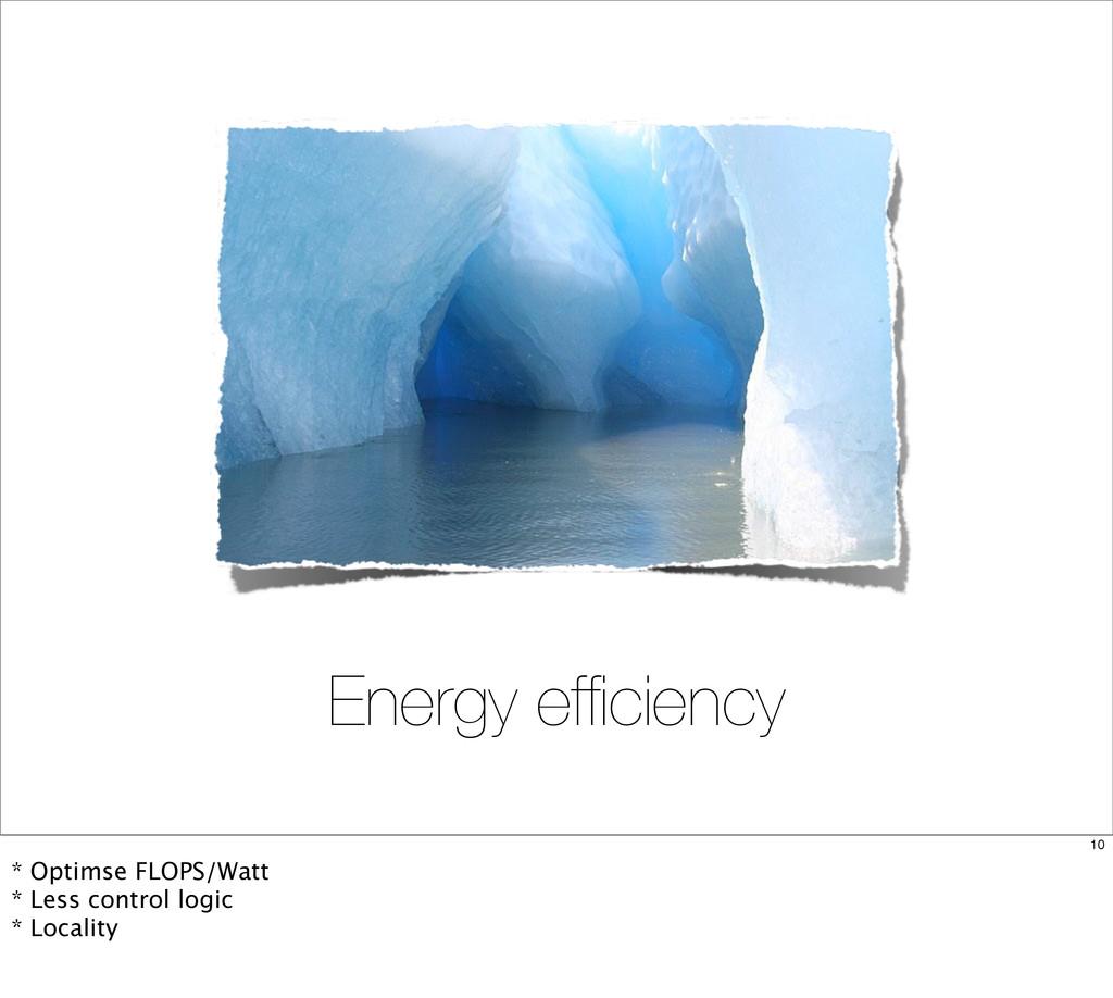Energy efficiency 10 * Optimse FLOPS/Watt * Less...