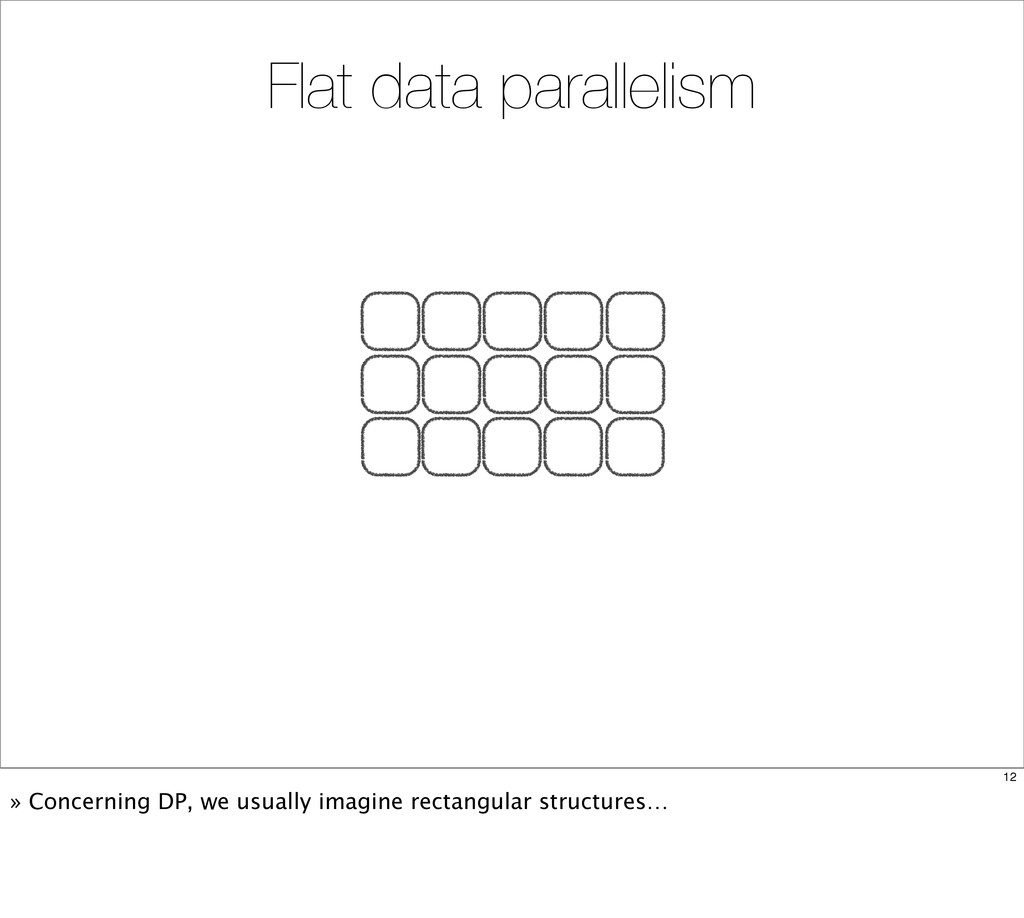 Flat data parallelism 12 » Concerning DP, we us...