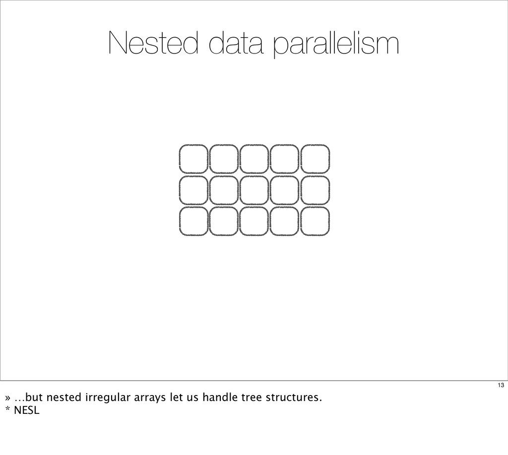 Nested data parallelism 13 » …but nested irregu...