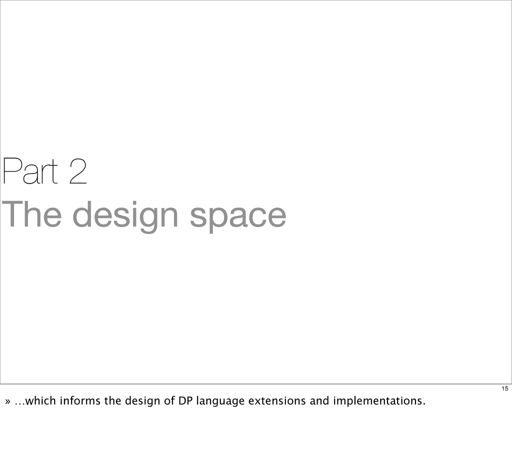 Part 2 The design space 15 » …which informs the...