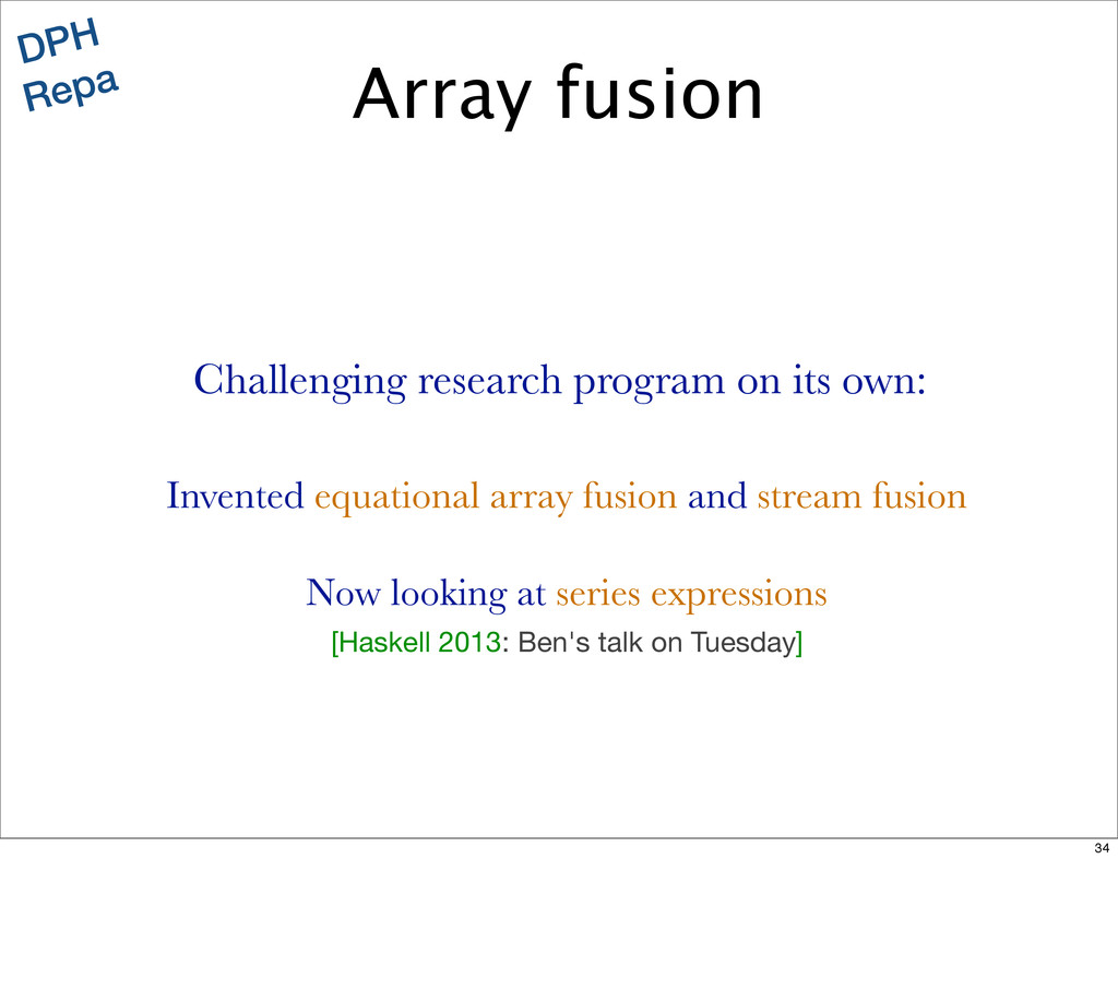 DPH Repa Invented equational array fusion and s...