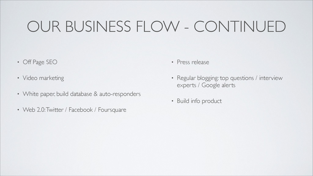 OUR BUSINESS FLOW - CONTINUED • Off Page SEO • ...