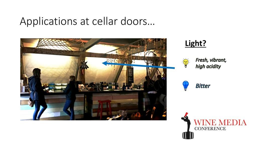 Applications at cellar doors… Light?