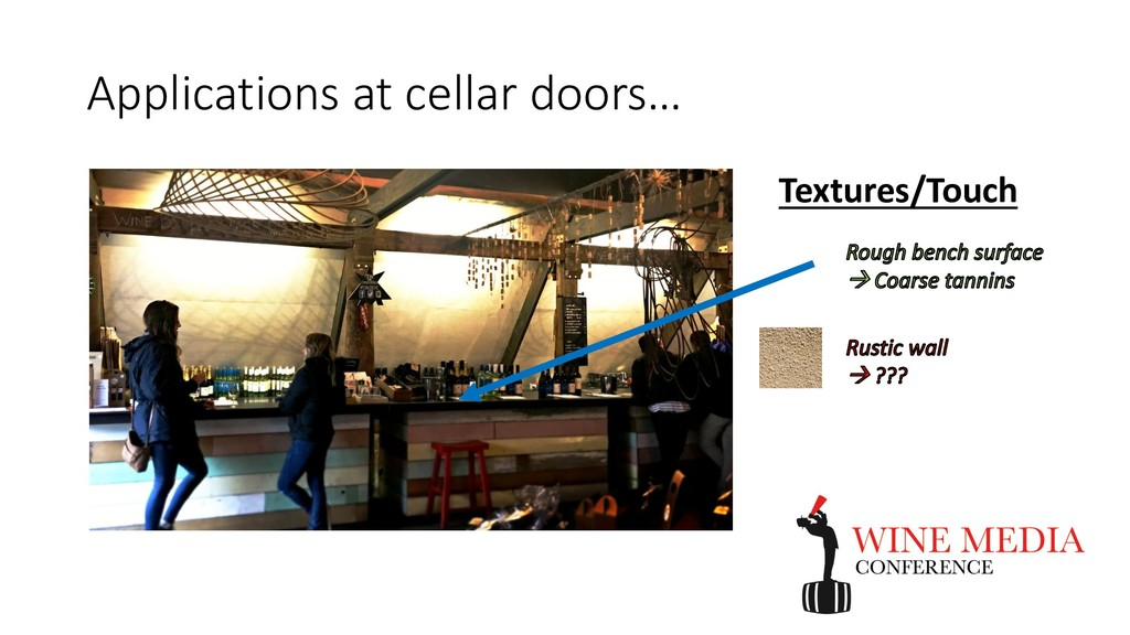 Applications at cellar doors… Textures/Touch